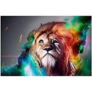 SODIAL(R) HD Colourful Lion King Painting Prints on Canvas 40X60cm, Ready to Hang Modern Abstract Art Wall Decor for Living Room, Office, Study, Kitchen, Bedroom:Interoot