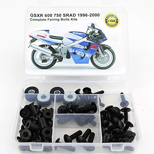 Xitomer Full Sets Fairing Bolts Kits, Fit for SUZUKI GSXR 600/750 SRAD 1996 1997 1998 1999 2000, Mounting Kits Washers/Nuts/Fastenings/Clips/Grommets (black)
