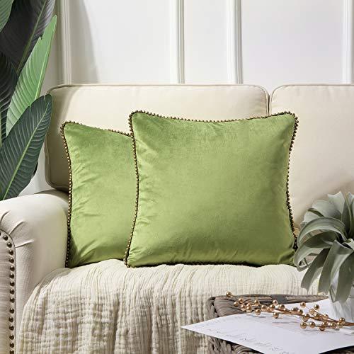 Phantoscope - Juego de 2 fundas de cojín decorativas de terciopelo suave, color verde con partículas de color bronce sólido, 45 x 45...