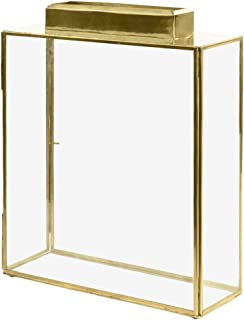 Koyal Wholesale Glass Wedding Card Gift Box Holder, Reception Drop Box, Large Pillar Candle Holder, Modern Lantern Table Decor, Geometric Wedding Decor (Gold, 15.5 x 11.5 x 4-Inch)
