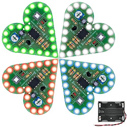 Bausatz Elektronik Zum Löten Lötbausatz Xruison Herzform LED Elektronische DIY Kit Elektronische Bildung Schule Wettbewerb Projekt Kits für Liebhaber Erwachsene Kinder