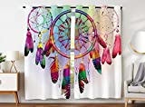 Violetpos 245 x 140 cm, diseño de atrapasueños multicolor rojo, azul, plumas, cortinas opacas, juego de 2 cortinas con ojales, para dormitorio o salón