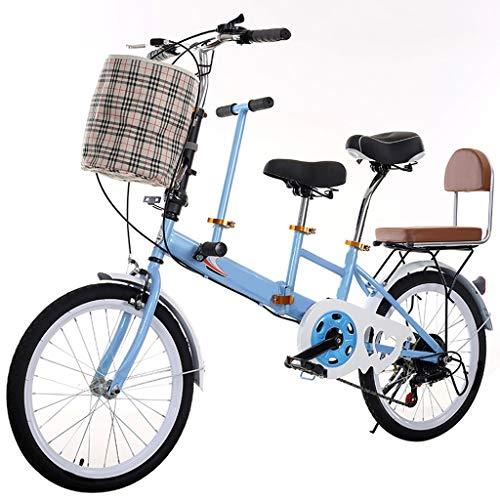 20' Folding Tandem Bici della Bicicletta della Famiglia 3 Posti Doppi Freni velocità Genitore-Figlio Pieghevole Bike (Color : Blue, Size : 20in)
