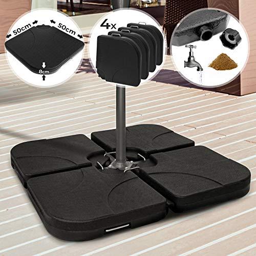 Sonnenschirmständer - 4 Gewichte, mit Sand oder Wasser befüllbar, Durchmesser 48 mm, max. Belastbarkeit 15 kg, Schwarz - Schirmgewicht, Schirmständer, Beschwerungsplatten für Ampelschirm, Sonnenschirm