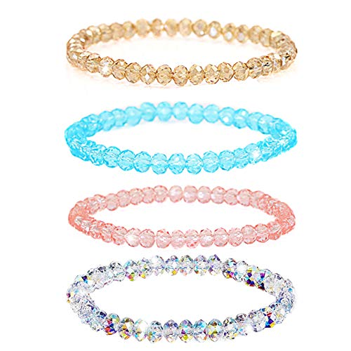 Shareky 4 Sets Beaded Bracelet Set Crystals Stretch Bracelet Swarovski Sparkling Bracelet for Girls 4pieces