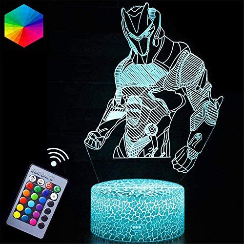 Luz nocturna 3D para niños 3D ilusión lámpara omega alimentado por USB 16 colores intermitente interruptor táctil decoración dormitorio iluminación para niños regalo de Navidad