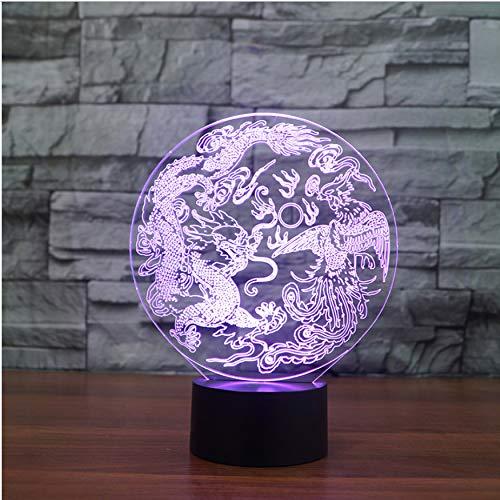 Cadeau Saint Valentin Usb 3D Led Bouton Tactile Night Light Dragon Chinois Et Phoenix Modélisation Lampe De Table Salon Ambiance Décor Nouvel An Cadeaux