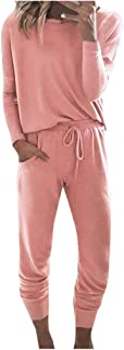 Women Sweatsuits Sets Pink Long Sleeve Pullover and Long Pants Sets Tracksuit Jogger Suit 2 Pieces Outfits for Fall Winter