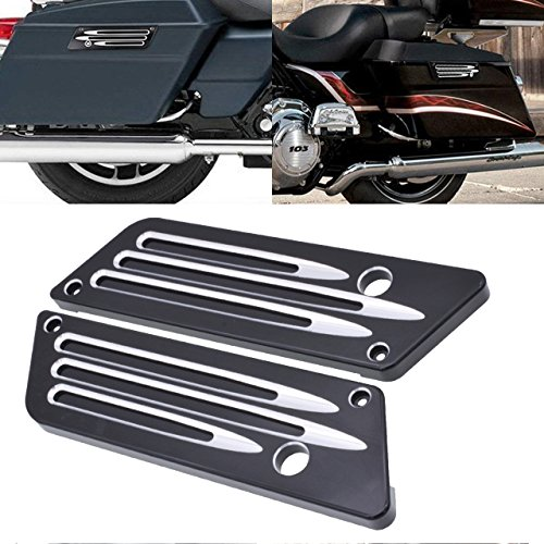TUINCYN Sacoche de Selle de Moto Loquet Cover Noir Accessoires de décoration arrière de Moto pour Harley Street Glide Ultra 1993-2013 (Pack de 1)