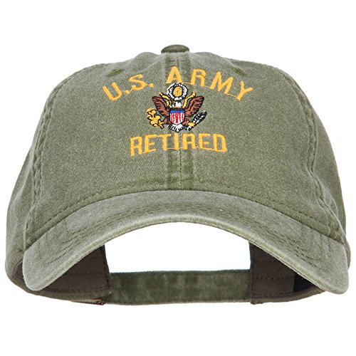 e4Hats.com US Army Retired Military Embroidered Washed Cap - Olive OSFM