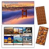 """DA CHOCOLATE キャンディ スーベニア """"サンフランシスコ"""" SAN FRANCISCO チョコレートセット 7,2×5,2一箱 (MILK Apricot Peanuts Cowberry)"""