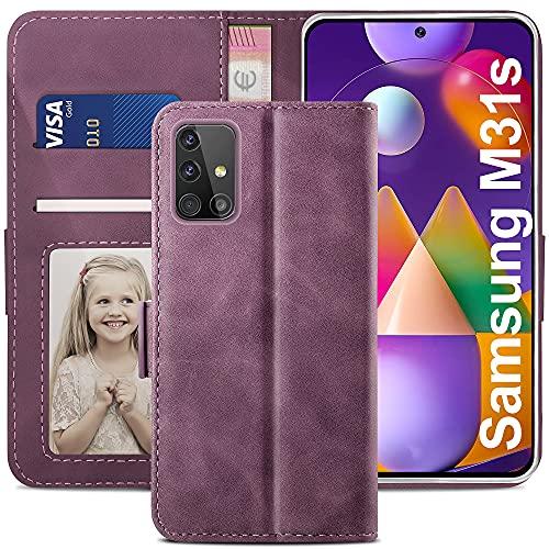 YATWIN Handyhülle Samsung Galaxy M31S Hülle, Klapphülle Samsung Galaxy M31S Premium Leder Brieftasche Schutzhülle [Kartenfach][Magnet][Stand] Handytasche für Samsung Galaxy M31S Hülle, Weinrot