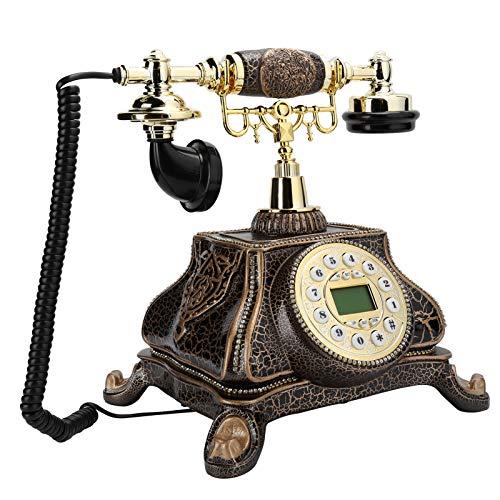 Vbestlife Teléfono Retro, teléfono Fijo de Escritorio Vintage de Estilo Europeo, teléfono Antiguo con Pantalla de identificación de Llamadas FSK y DTMF