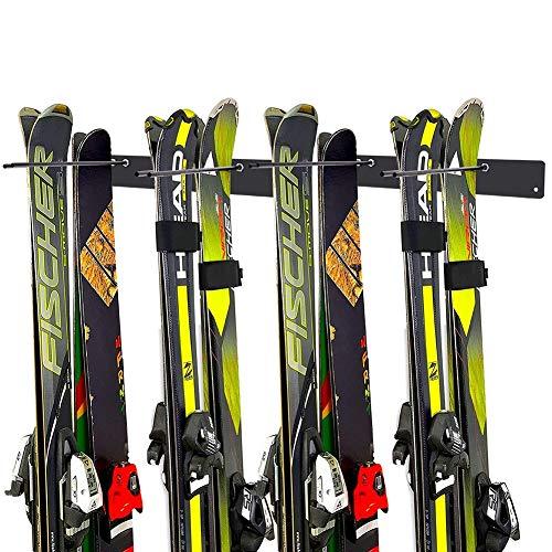 Malayas Skihalter 4 Paar Skihalterung Gerätehalter Skiträger Skiaufbewahrung für Ski/Snowboard/Besen/Schaufel usw.
