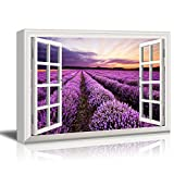 Print Window Frame Style Beautiful Scenery Landscape Purple Lavender Field at Sunset Time Gallery Stretched - Canvas Art Wall Art - 24' x 36'