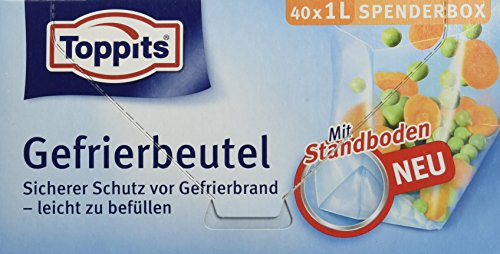 Toppits Gefrierbeutel Transparent, 1 Liter, Standboden, 10er Pack (10 x 40 Stück)