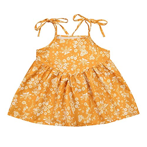 Toddler Baby Girl Summer Boho Dresses Casual Sleeveless Sling Floral Princess Sundress Summer Clothes Suspender Skirt (Yellow, 2-3 Years)