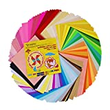 Onepine Carta da Origami 200 fogli 50 Colori 80% Colore a due lati 20% Lato singolo per Carta Pieghevole per Bambini,15x15cm