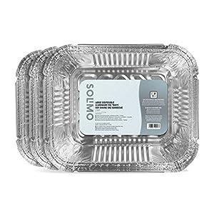 Marca Amazon – Solimo Bandejas de Aluminio Desechables Grandes para Horno y Barbacoa – 15 Bandejas