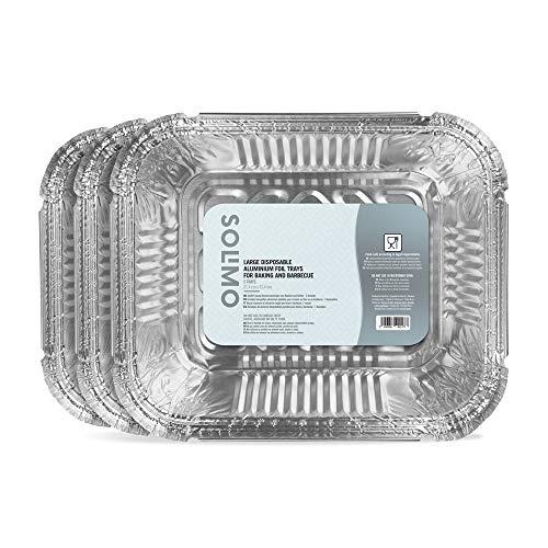 Marca Amazon - Solimo Bandejas de Aluminio Desechables Grandes para Horno y Barbacoa - 15 Bandejas