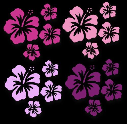 XL MIXED SET HIBISKUS Blüten ~Pink Miss~, 16 Stück Autoaufkleber Blumen, Autoblumen bunte Sticker Outdoor, Wandtattoo & Fensterbild in 4 Farben, pink, rosa, lila, flieder