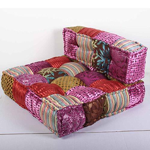 Casa Moro Orientalisches Patchwork Sofa Velvet Rosa 80x75x46 cm (B/T/H) quadratisch mit Füllung | Indisches Chill-Kissen Handmade Lounge Sessel Sitzkissen in Boho Style | MA2835