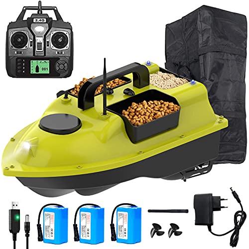 Barco Cebador, RC Barco Cebo Teledirigido de Pesca, Barco de Pesca con 500 M 2.4 GHz de Control Remoto y Sistema de Posicionamiento GPS, (Contiene Antena, Hélices, Baterías, Cargador y Bolsa)