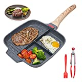 Sectional Skillet, Grill Pans For Stove Tops Nonstick 3 Section Breakfast Pan Meal Skillet Griddle Divided Pan, With Silicone Brush & Clip, 10.5 inch