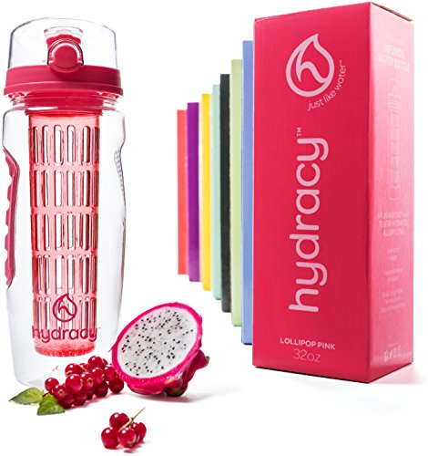 Hydracy Fruit Infuser Water Bottle - 32 oz Sports Bottle - Time Marker, Full Length Infusion Rod &...