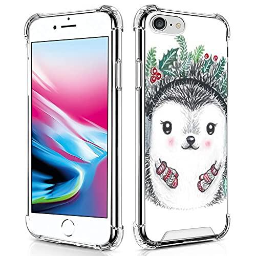 UZEUZA Carcasa transparente para iPhone 7/8/SE2, absorción de golpes, flexible, protección completa, erizo de Navidad, transparente, TPU antiarañazos, para iPhone 7/8/SE2