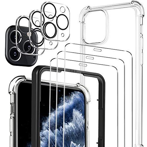 Luibor [7 in 1] per Vetro Temperato iPhone 11 Pro Max Pellicola Protettiva + Cover iPhone 11 Pro Max + Pellicola Fotocamera,[9H] [Strumento di Installazione Facile] [HD Chiaro][Protezione Completa]