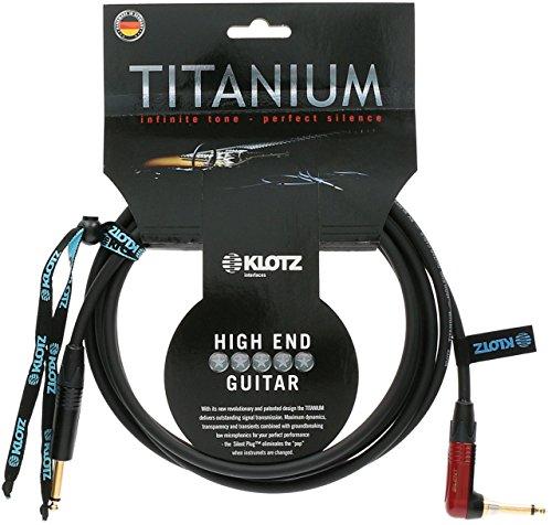 Klotz TIR0600PSP Titanium Gitarrenkabel mit Silent Plug, 6,35 mm (1/4 Zoll) gerade auf rechten Winkel, 6 m (20 Fuß)