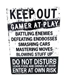 Kalan Keep Out Gamer at Play Enter at Own Risk Funny Novelty Tin Sign (Standard Version)