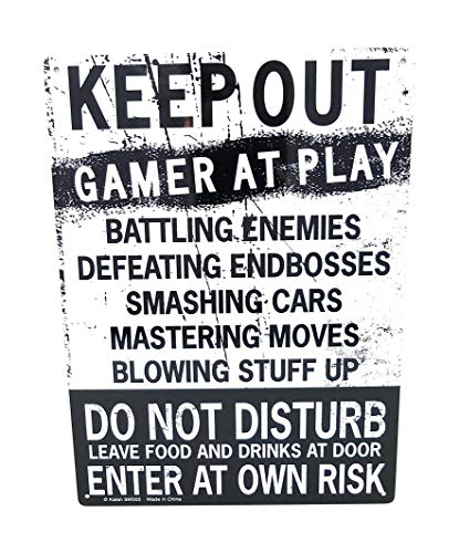 Kalan Keep Out Gamer at Play Enter at Own Risk Funny Novelty Tin Sign (Standard Version)