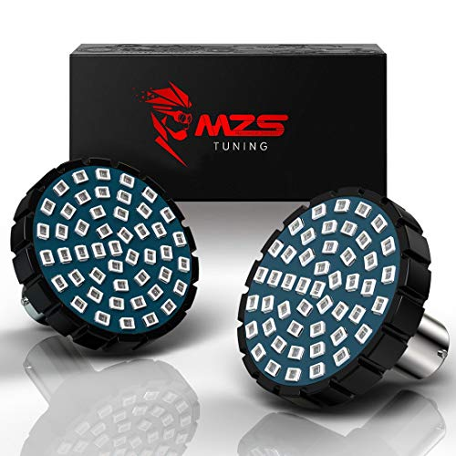 "MZS 2"" Red 1157 Turn Signal LED Bulb w/2835 Chips Bullet Style All-in-One Running Light Kit Front or Rear Compatible Motorcycles Harley Davidson"