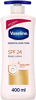 Vaseline essential even tone Body Lotion with SPF 24, non-greasy formula for sun protection, 400ml
