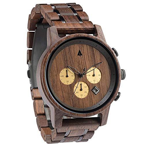 Treehut Men's Chocolate Walnut Wooden Brown Stainless Steel Watch Chronograph Quartz Analog Japanese Movement Watch with Date