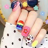 Sethexy Vistoso Uñas postizas Arco iris Flor Corazón Linda Medio Cobertura total Acrílico 24 piezas Puntas de uñas para mujeres y niñas