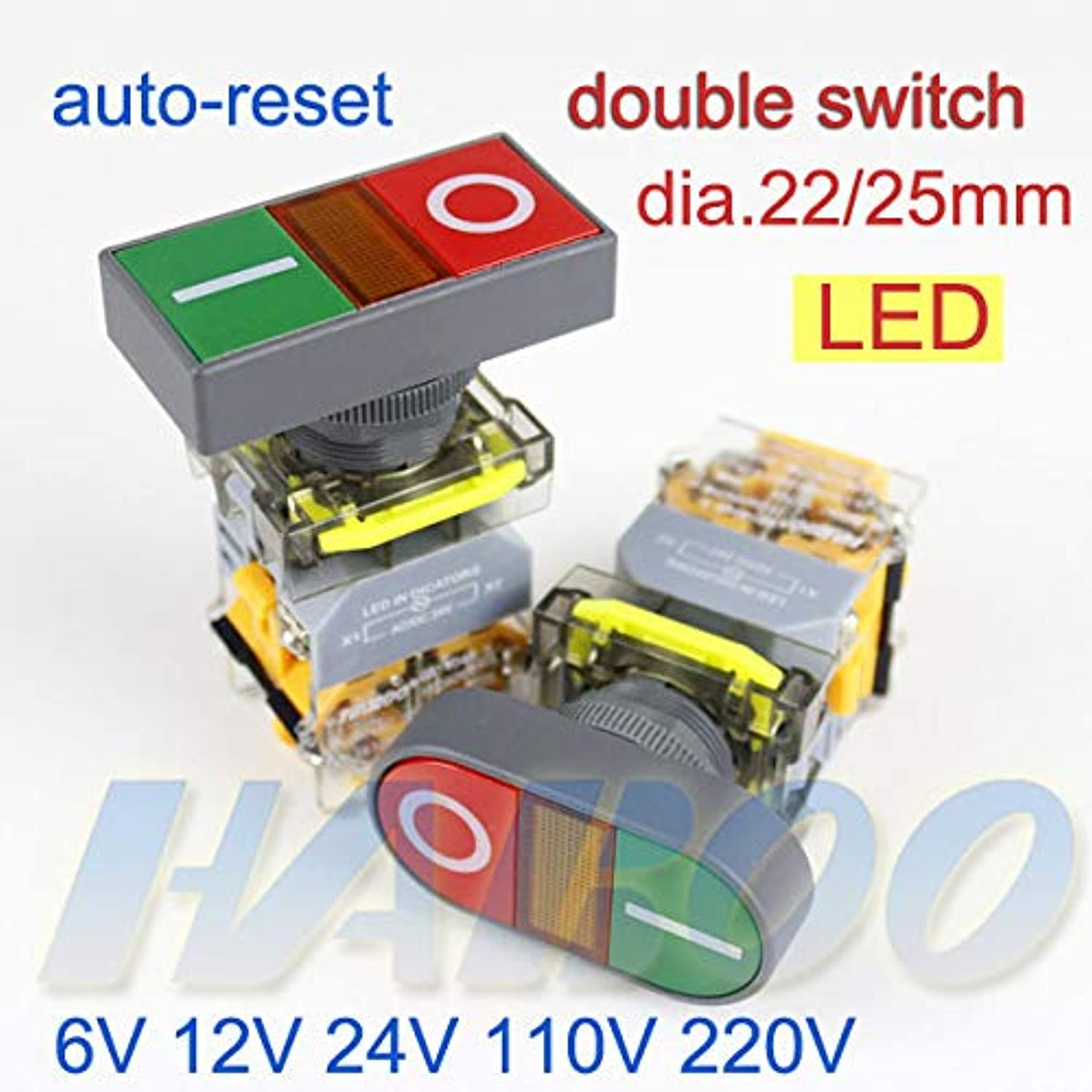 5PCS Packing Dia.22 25mm Double Switch with led red Green color 6V 12V 24V 110V 220V autoReset Double Switch 1NO+1NC 2NO 2NC  (color  Green 24V LED)