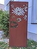 Zen Man Edelrost Garten Sichtschutz aus Metall 1mm Rost Gartenzaun Gartendeko Rost Sichtschutzwand 031648-2 B50 H125cm