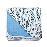 Bebe au Lait Classic Muslin Snuggle Blanket, Blue Leaves + Cornflower