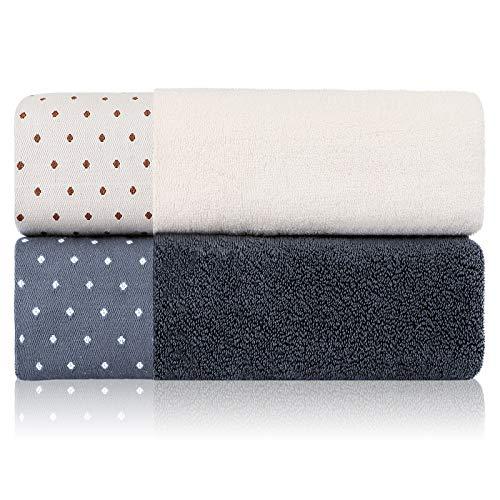 Kenuox - Juego de 2 toallas de baño de algodón, higroscópicas, transpirables, elegantes y suaves, adecuadas para baño, gimnasio, yoga, viajes, 144,8 x 68,6 cm