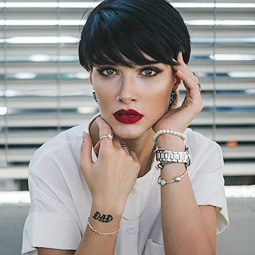 Queentas Short Human Hair Wigs with Bangs Pixie Cut Layered Cute None Lace for Black Women (Natural Black #1B)
