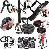 C.P. Sports - Aparato de entrenamiento de dedos, antebrazos, bíceps, abdominales, pesas rusas, flexiones, anillos de gimnasia, pesas largas, juego de maletas, para culturismo, crossfit, fitness