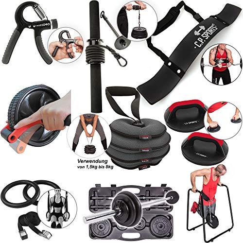 C.P. Sports Fingertrainer/Unterarmtrainer/Bizepslaster/Bauchroller/Kettlebell/Liegestützgriffe/Turnringe/Langhantel Kofferset/Dipstation für Bodybuilding, Crossfit, Fitness (Unterarmtrainer Fat Grip)