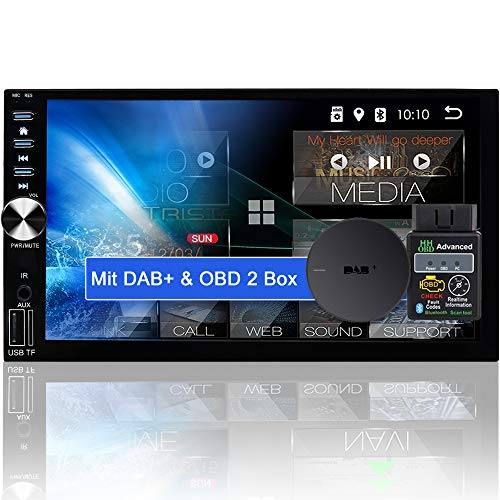 Tristan Auron BT2D7026A Android 10.0 Autoradio + DAB Plus Box OBD 2 Box - 7\'\' Touchscreen Bildschirm I Bluetooth Freisprecheinrichtung GPS Navi USB SD 2 Din