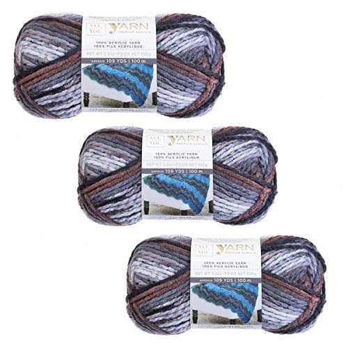 Darice Premium Bulky Acrylic Yarn: Ashes Ombre, 3 Pack