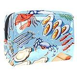 Bolsa de maquillaje de PVC con cremallera, bolsa de cosméticos impermeable con mejillones de pescado, cangrejos de cangrejos de camarón, ostras y...