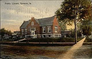 Public Library Spencer, Iowa Original Vintage Postcard