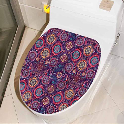Homesonne - Adhesivo decorativo para tapa de inodoro, diseño de círculos orientales, decoración divertida, para baño, ducha, decoración de cuarto de baño, 45,7 x 55,8 cm